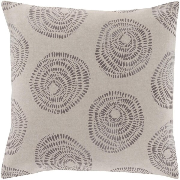 """18"""" Light Gray and Charcoal Whimsical Rose Decorative Square Throw Pillow"""