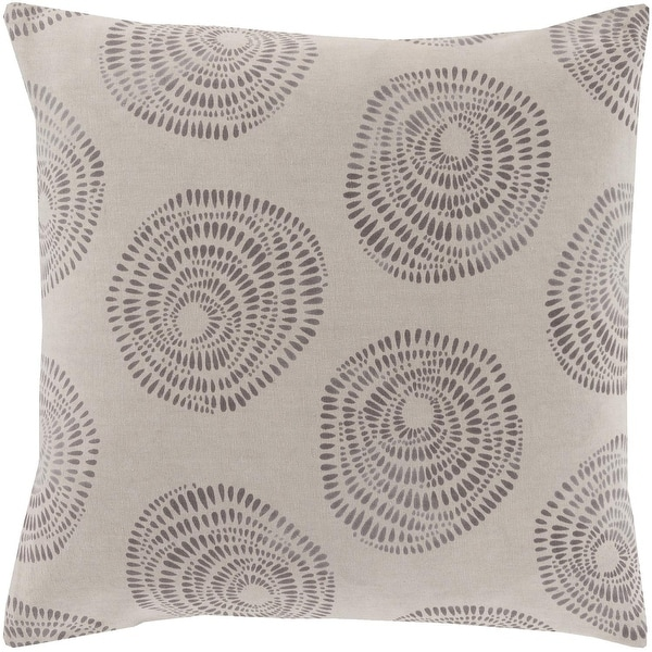 "22"" Gray and Charcoal Gray Abstract Rose Pattern Decorative Throw Pillow"