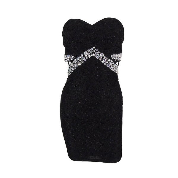Trixxi Juniors' Strapless Glitter Dress - Black