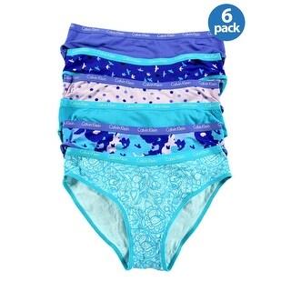 Calvin Klein Girls Stretch Bikinis Blue Assortment 6-Pack Small S 6-7