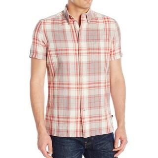 Nautica NEW Mars Red Mens Size Large L Button Down Plaid Linen Shirt
