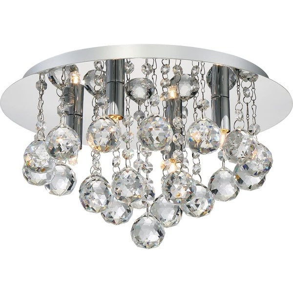 "Platinum BRX1614 Bordeaux 4 Light 14"" Wide Flush Mount Ceiling Fixture with Crystal Accents"
