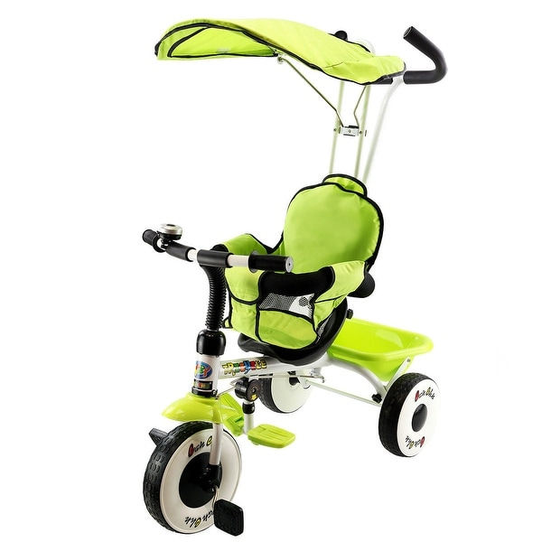 Costway 4-In-1 Kids Baby Stroller Tricycle Training Learning Toy Bike w/ Canopy Basket - Green