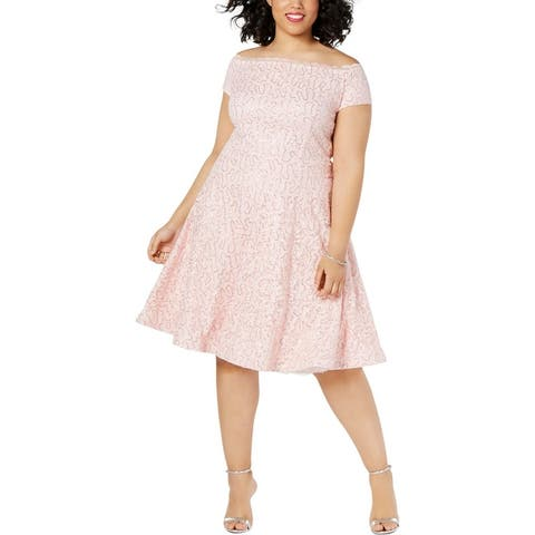 B. Darlin Womens Plus Party Dress Lace Off-The-Shoulder - Blush