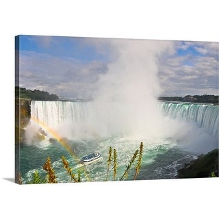 Premium Thick-Wrap Canvas entitled Niagara Falls with small rainbow in the foreground - Multi-color