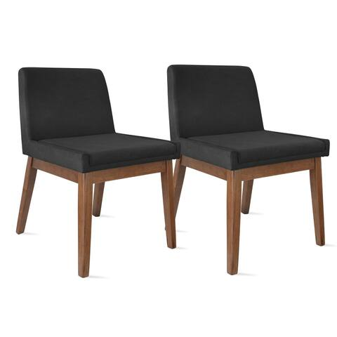 Set of 2 Brown Wood Leg Dining Room Chair with Cushion Back Upholstered Hotel Chanel Volcanic