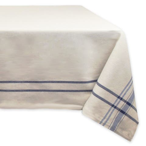 "Nautical Blue and Ivory French Striped Pattern Rectangular Tablecloth 60"" x 84"" - N/A"