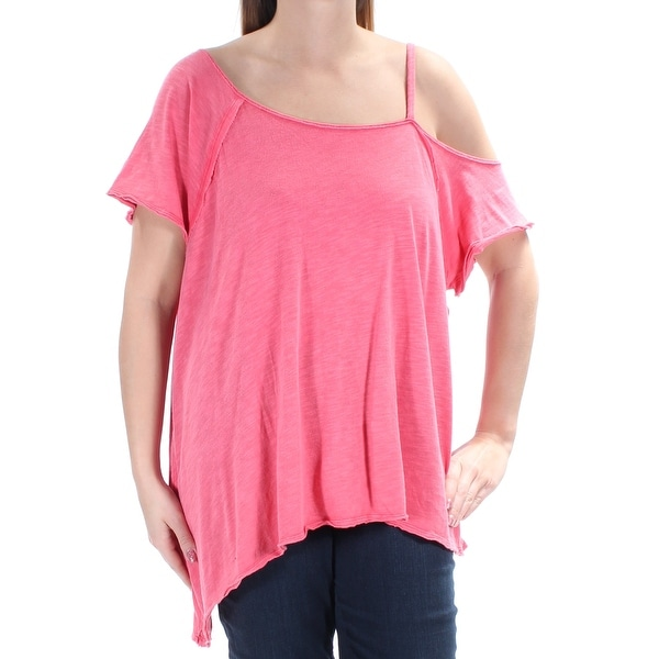 923cdcf00591 Shop WE THE FREE $68 Womens New 1040 Pink Cold Shoulder Scoop Neck Top L  B+B - Free Shipping On Orders Over $45 - Overstock - 21273309