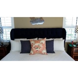 Shop Skyline Furniture Tufted Wingback Bed In Velvet Navy