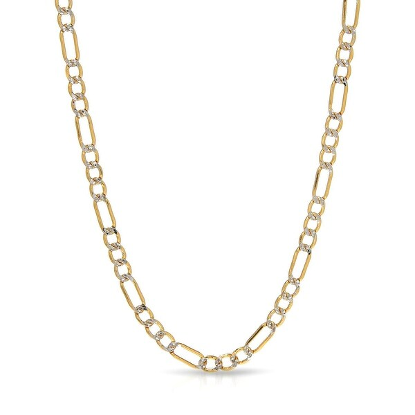 "Mcs Jewelry Inc 10 KARAT TWO TONE, WHITE GOLD YELLOW GOLD HOLLOW FIGARO CHAIN NECKLACE (3mm) (18"") - Multi"