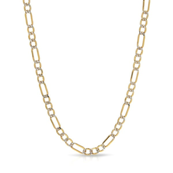 Mcs Jewelry Inc  10 KARAT TWO TONE GOLD FIGARO PAVE SOLID LINK CHAIN NECKLACE (3.5MM) - Yellow