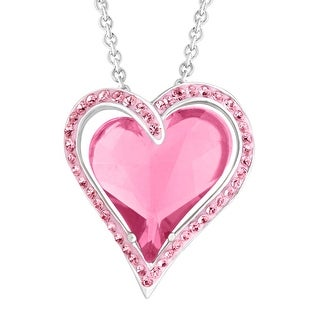 """Crystaluxe Double Heart Pendant Necklace with Rose Swarovski elements Crystals in Sterling Silver, 18"""""""