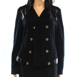 INC NEW Black Women's Size Medium M Faux Leather Trim Military Jacket