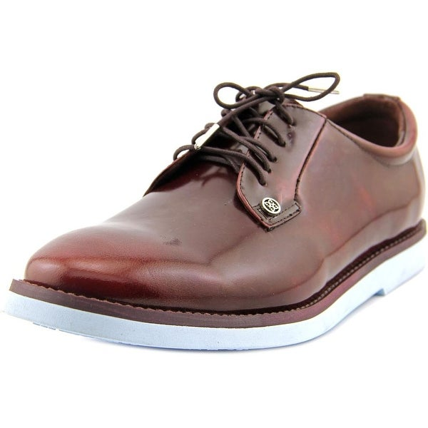 G/Fore The Gallivanter Men Round Toe Patent Leather Burgundy Oxford