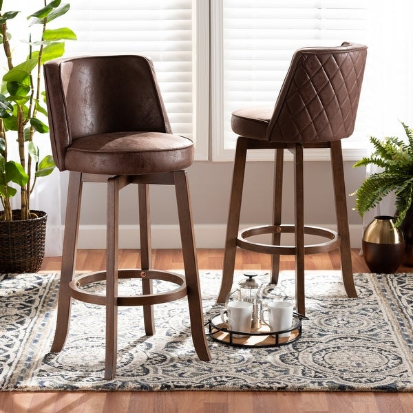 Adams Transitional Upholstered and Walnut Wood 2-PC Bar Stool Set. Opens flyout.