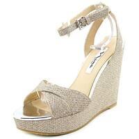 Nina Gianina Women  Open Toe Synthetic Silver Wedge Heel