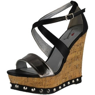 Luichiny Women's Mad Dox Wedge Sandals - Pewter/Black - 10 b(m) us