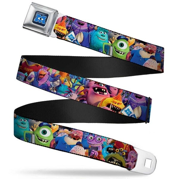 Monsters University Logo Full Color Blue White Monsters University Monsters Seatbelt Belt