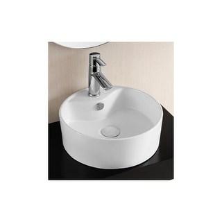 """Nameeks CA4161  Caracalla 15-3/8"""" Vessel Bathroom Sink with 1 Faucet Hole and Overflow - White"""