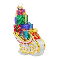 Christopher Radko Glass Santa Claus Pile High Sleigh Christmas Ornament #1017690