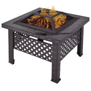 Costway 26'' Outdoor Metal Firepit Backyard Patio Garden Square Stove Fire Pit With Poker