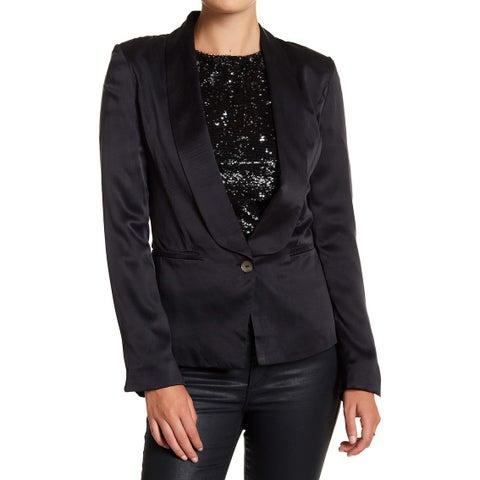 Lamarque NEW Black Women's Size 6 Shawl-Collar One-Button Blazer Silk
