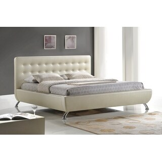 Mid-Century Elizabeth Pearlized Almond Bed with Upholstered Headboard - King Size