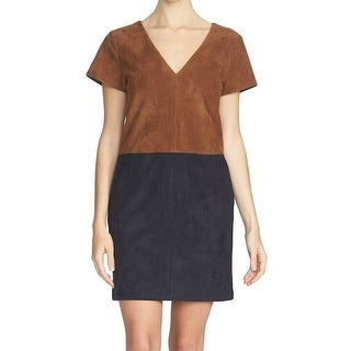 1. State NEW Brown Womens Small S Faux-Suede Colorblock Shift Dress