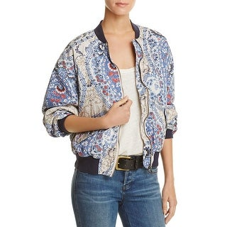 Free People Womens Bomber Jacket Printed Long Sleeves