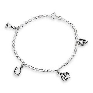 Bling Jewelry Horseshoe Equestrian Horse Charm Bracelet 925 Silver 7.5in