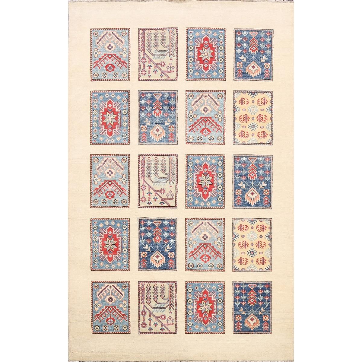 Vegetable Dye Patch-work Super Kazak Oriental Area Rug Wool Handmade - 5'1