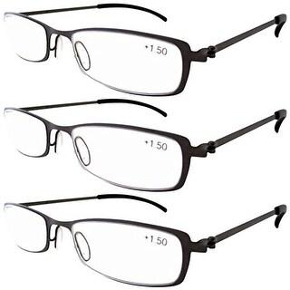 Eyekepper 3-Pairs Stainless Steel Frame Reading Glasses Gun+2.5
