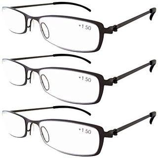 Eyekepper 3-Pairs Stainless Steel Frame Reading Glasses Gun+4.0