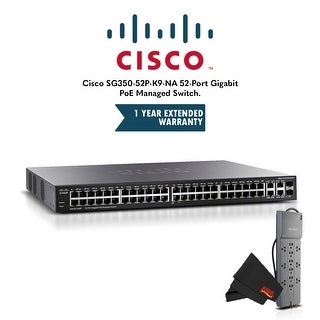 Cisco SG350-52P-K9-NA 52-Port Gigabit PoE Managed Switch with 1 Year Extended Warranty and Belkin Powerstrip Bundle