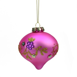 "3.5"" Matte Bubblegum Pink Floral Glittered Onion Shaped Finial Glass Christmas Ornament"