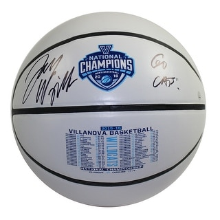 """Jay Wright Signed 2016 National Champions Commemorative White Panel Basketball w/ """"Go Cats!"""" Insc"""