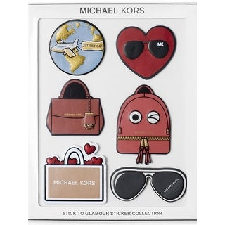 Michael Kors Womens Stick To Glamour Leather Stickers 6PC Stick On