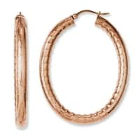 Chisel Stainless Steel Pink IP-plated Textured Hollow Oval Hoop Earrings