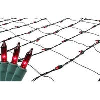 4' x 6' Red Mini Net Style Christmas Lights - Green Wire
