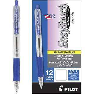 Pilot Easy Touch Retractable Ballpoint Pen, 0.7 mm Fine Tip, Blue, Pack of 12
