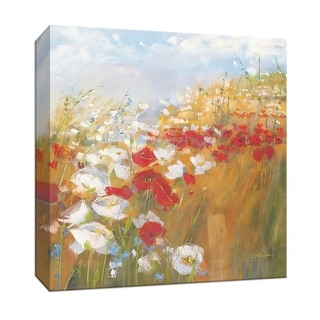 """PTM Images 9-153338  PTM Canvas Collection 12"""" x 12"""" - """"Poppies and Larkspur II"""" Giclee Rural Art Print on Canvas"""