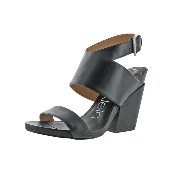 Calvin Klein Womens Emmett Strappy Sandals Leather Block Heel