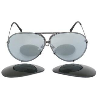 Porsche Design Design P8978 C 69 Aviator Sunglasses for Men Dark Grey Titanium Frame Interchangeable Light Blue Silv