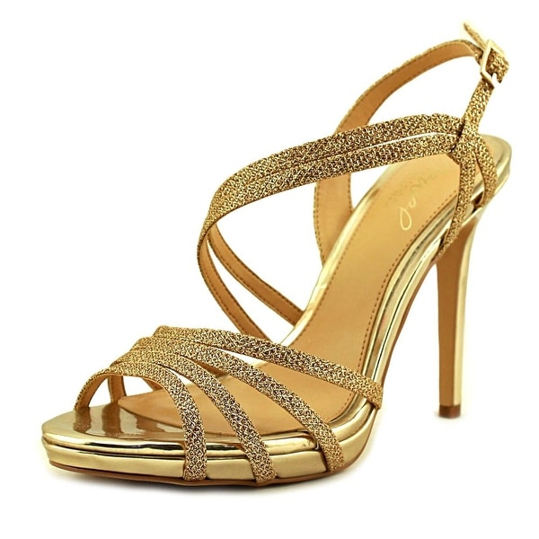 Jewel Badgley Mischka Humble Women Open Toe Synthetic Gold Sandals