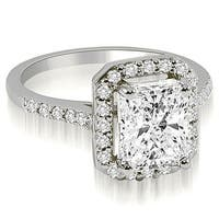 1.10 cttw. 14K White Gold Emerald and Round cut Halo Diamond Engagement Ring