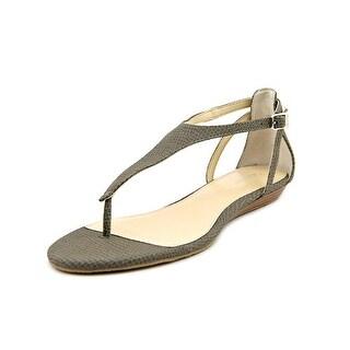 Calvin Klein Kana Women Open Toe Leather Gray Thong Sandal