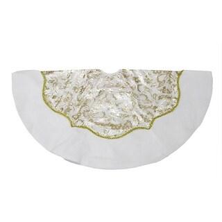 """48"""" Elegant White Velveteen Christmas Tree Skirt with Gold Leaf Accents"""