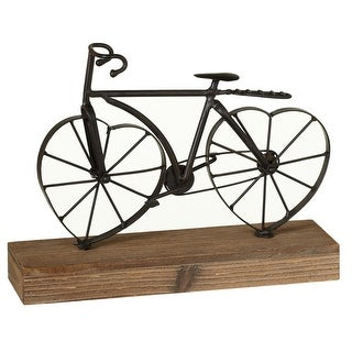 """10"""" Black and Brown Vintage Iron Bicycle with Heart Shaped Wheels"""