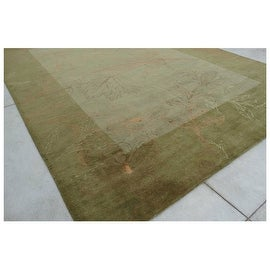 Super Soft 9.6x13.6 Feet Sage Green Huge Over sized Bordered Floral Wool Carpet Rug Modern Contemporary Hand-Tufted