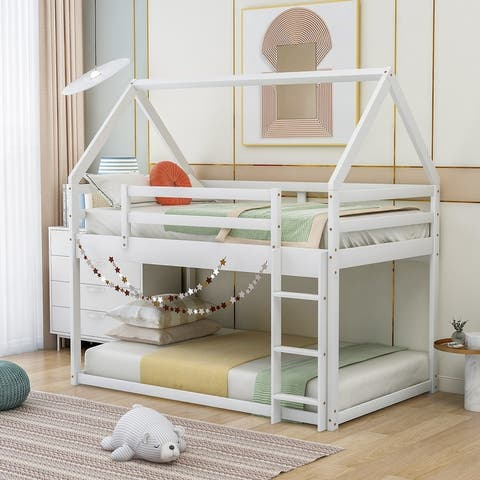 House-shaped Twin over Twin Low Bunk Bed